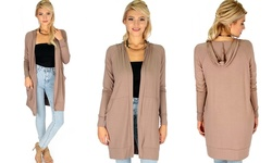 Lyss Loo Long-line Hooded Cardigan - Taupe - Size: Large