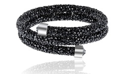 Swarovski Elements Crystal Dust Double Wrap Bangle Bracelet - Black