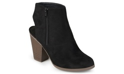 Journee Collection Womens Faux Suede Ankle Booties - Black - Size: 7.5
