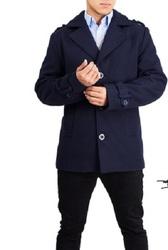 Braveman Men's Wool Blend Coat - Navy - Size: Large