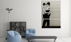 "Kissing Cops by Banksy  48"" x 30"" Gallery Wrap"