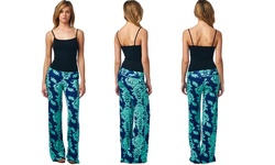 Popana Women's Damask Print Palazzo Pants - Turquoise - Size: Medium