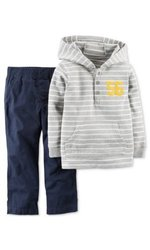 Carter's Toddler Boys Gray Striped Top & Navy Pants Set - Size: 3T