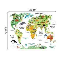 Cartoon Forest Animals w/ World Map Removable Wall Stickers (6108364)