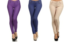 Chal 5-pocket Slimming Leggings - Dark Blue/Purple/Camel - Size: L-XL - 3Pack
