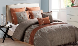 7-pc Chambray Embroidered Comforter Set - Spice - Size: Queen