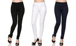Women's 3-pack Slimming Skinny Pants - Black/White/Navy - Size: S/M