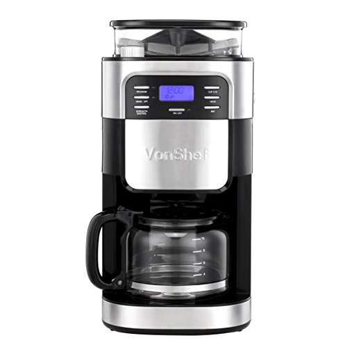 VonShef 10 Cup Coffee Maker with Built-In Grinder and Reusable Filter - Check Back Soon - BLINQ