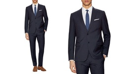 Verno Men's Classic-Fit Pinstripe Suit - Navy - Size: 38R x 32W