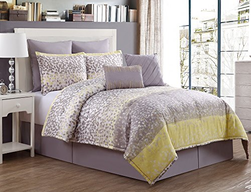 8 Pc, Grey, And Yellow, Comforter Set, King Size Bedding
