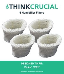 4 Vicks WF2 Humidifier Filters; Fits Vicks V3500N, V3100, V3900 Series, V3700, Sunbeam 1118 Series & Honeywell HCM-350 Series; Compare to Model # WF2; Designed & Engineered by Crucial Air 1257123