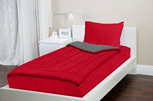 Zipit Bedding Set Queen Red Houndstooth Check Back