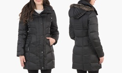 Kenneth Cole Women's Down Coat W/Faux Fur Trim Hood - Black - Size: XL