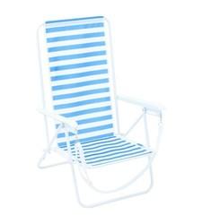 Three Position Lay Flat Folding Beach Chair - Blue Stripe