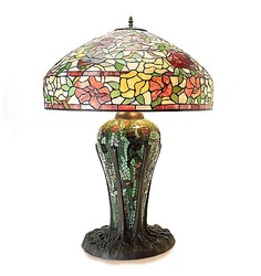 Tiffany Style Elaborate Rose Table Lamp With Mosaic Base - Multi