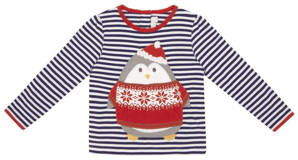 Jojo Maman Bebe Kids Girls Stripe Penguin Top Navy
