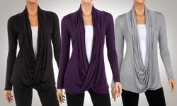 Women's 3-pk Criss Cross Cardigans -Black/Heather Grey/Eggplant - Size: L