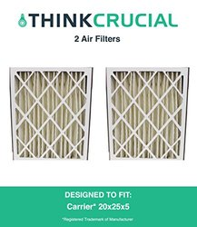 2PK Carrier MF2025 & M8-1056 Pleated Furnace Air Filter 20x25x5 MERV 8, Designed & Engineered by Crucial Air 1265060