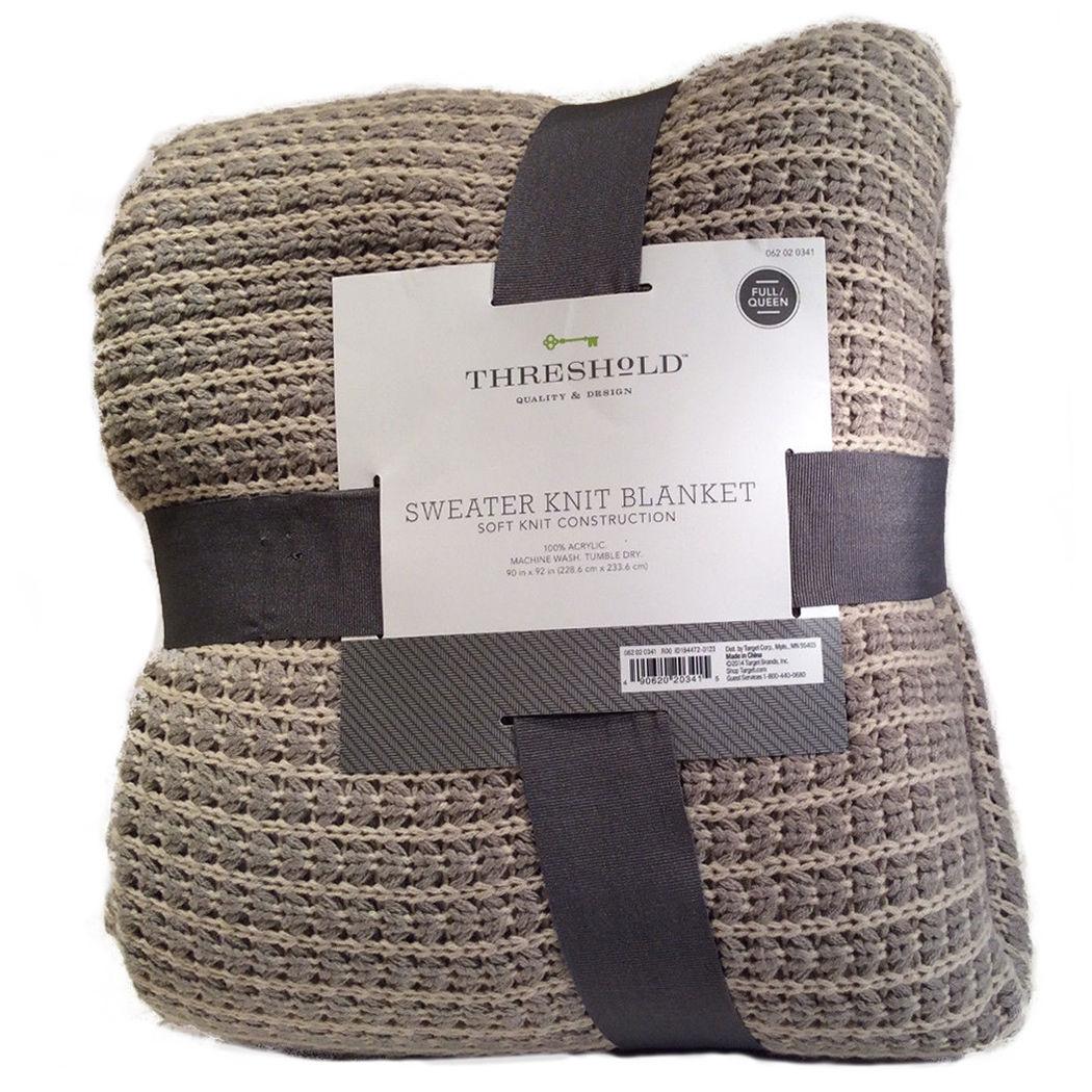 Knitting Queen Size Blanket : Threshold sweater knit blanket gray tan size full