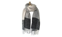 Azuri Oversized Blanket Square Scarf Wrap - Black and Gray