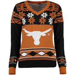 Women's Texas Longhorns Ugly Christmas V-Neck Sweater - Orange - Small