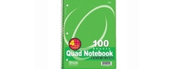 "Bazic 100 Ct. Quad-Ruled 4-1"" Spiral Notebook - Pack of 2"