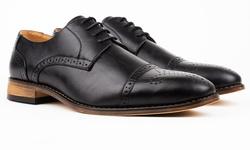 Signature Men's Cap Toe Brogue Lace up Dress Shoes - Black - Size: 9.5