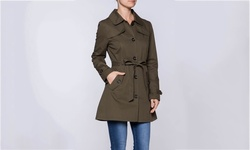 Apparel Brands Women's Lightweight Trench Coat - Olive - Size: Large