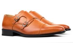 Gino Vitale Men's Monk Strap Dress Shoes - Brown - Size: 8