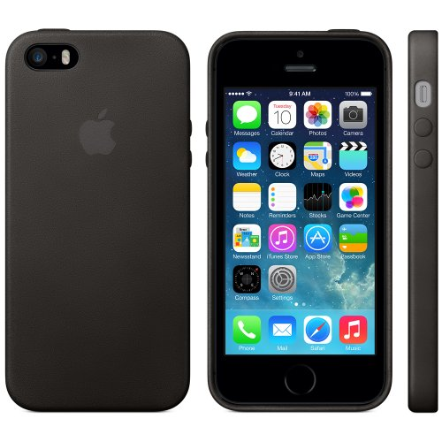 timeless design 58435 5521e Apple iPhone 5/5s Black Leather Case - MF045LL/A - Check Back Soon ...