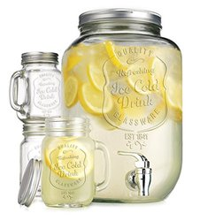 2.15 Gallon Quality Ice Cold Clear Glass Jug Beverage Dispenser with Set of 4 Ice Cold Mason Mugs and Gingham Lids and Straws 1280024
