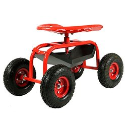 Sunnydaze Rolling Garden Cart with 360 Degree Swivel Seat & Tray - Red