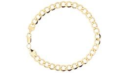 "Men's 14K Yellow Gold Cuban Chain Bracelet - 7"""
