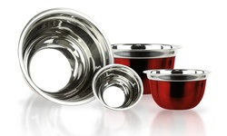 Stainless Steel 4 Piece Red Mixing Bowls with Silicone Base