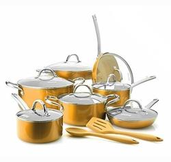 Todd English Titanium Ceramic Nonstick 16-Piece Cookware Set - Gold