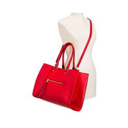 f44df6be1c33 Merona Women s Tote Faux Leather Handbag with Zip Front Pocket - Red ...