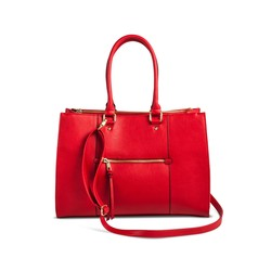 99e5baaa72e2 Merona Women s Tote Faux Leather Handbag with Zip Front Pocket - Red -  Check Back Soon - BLINQ