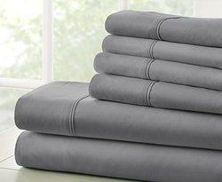 Microfiber Bed Sheets Set: Full/Gray 993033