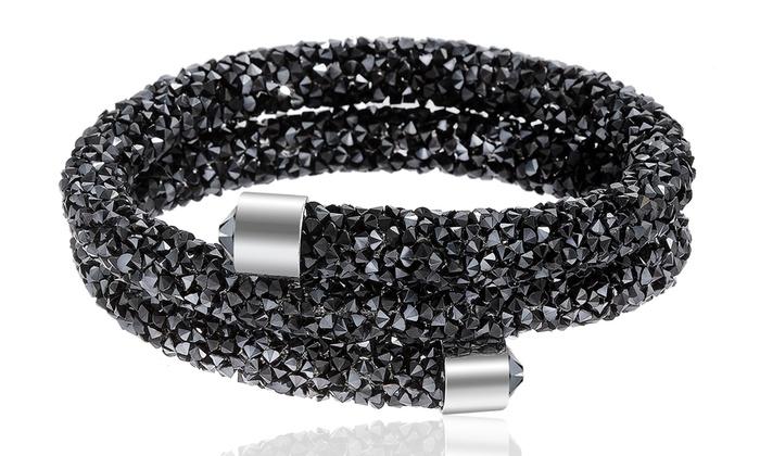 Swarovski Elements Crystal Dust Double Wrap Bangle Bracelet - Black ... 9fcfe11270