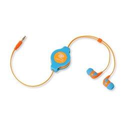 ReTrak Retractable Stereo Earbud Headphones - Neon Blue/Orange