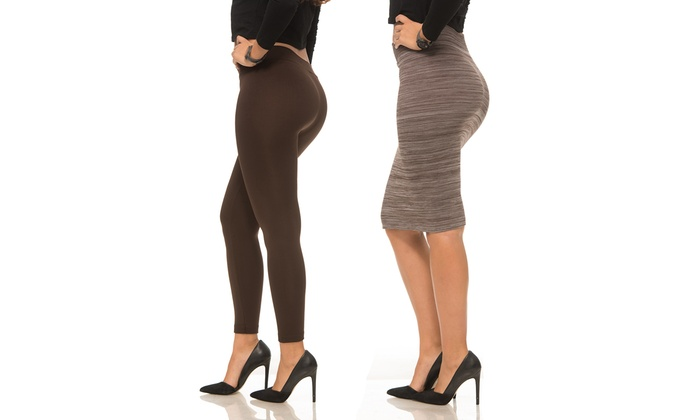 d9476f61d89dbf 2-Pack Coco Limon Fleece Lined Leggings and Pencil Skirt: Black ...