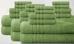 Spa Collection 24-Piece 100% Cotton Hollow-Yarn Towel Set - Lime