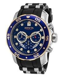 Men's Pro Diver Chronograph Silicone Blue Dial Two-Tone Bezel - Black 1302075