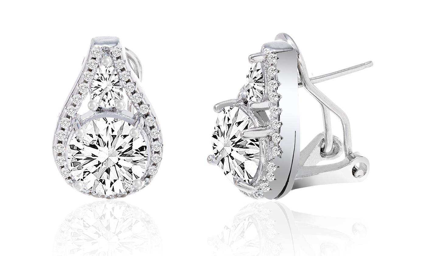 Omega French Clip Tear Drop Halo Stud Earrings With Swarovski Elements Check Back Soon