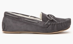 Olive Street Women's Holiday Moccasin Slippers - Grey - Size: 7-8