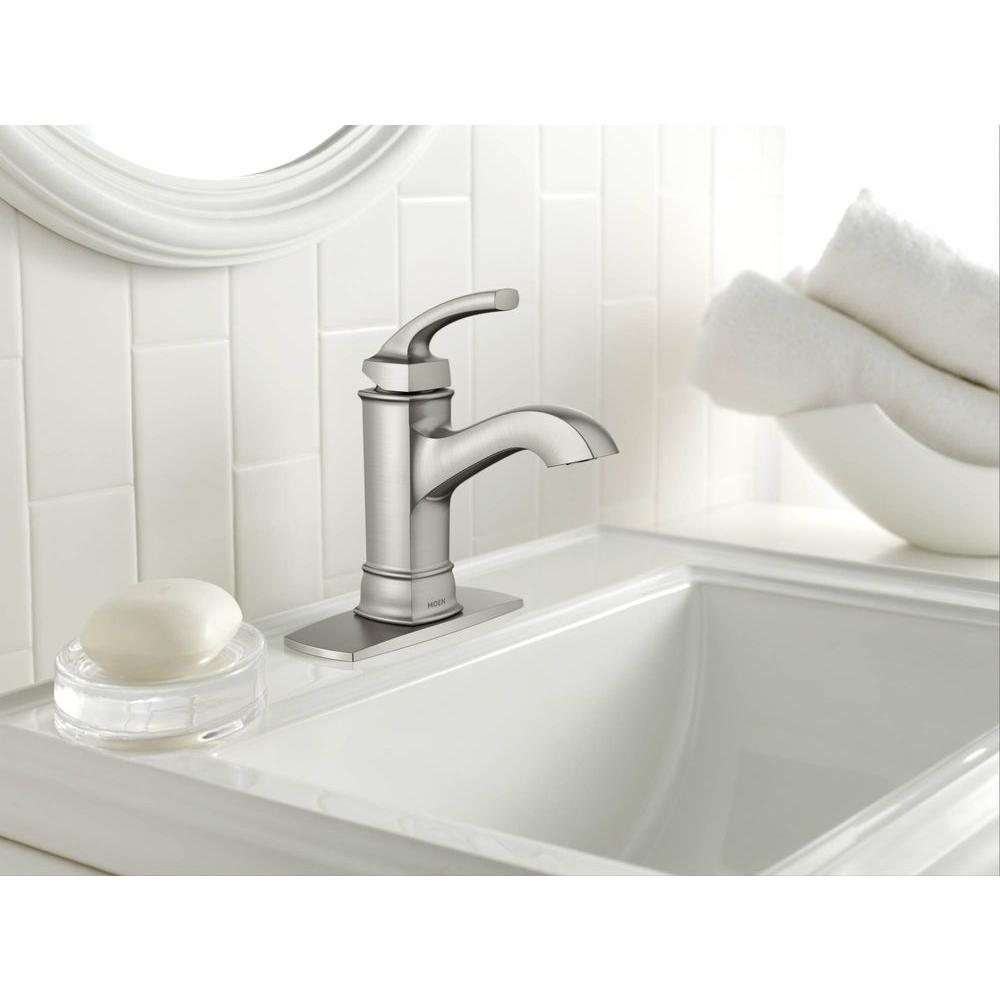 Moen Hensley 1-Hole 1-Handle Bathroom Faucet - Spot Resist Brushed ...