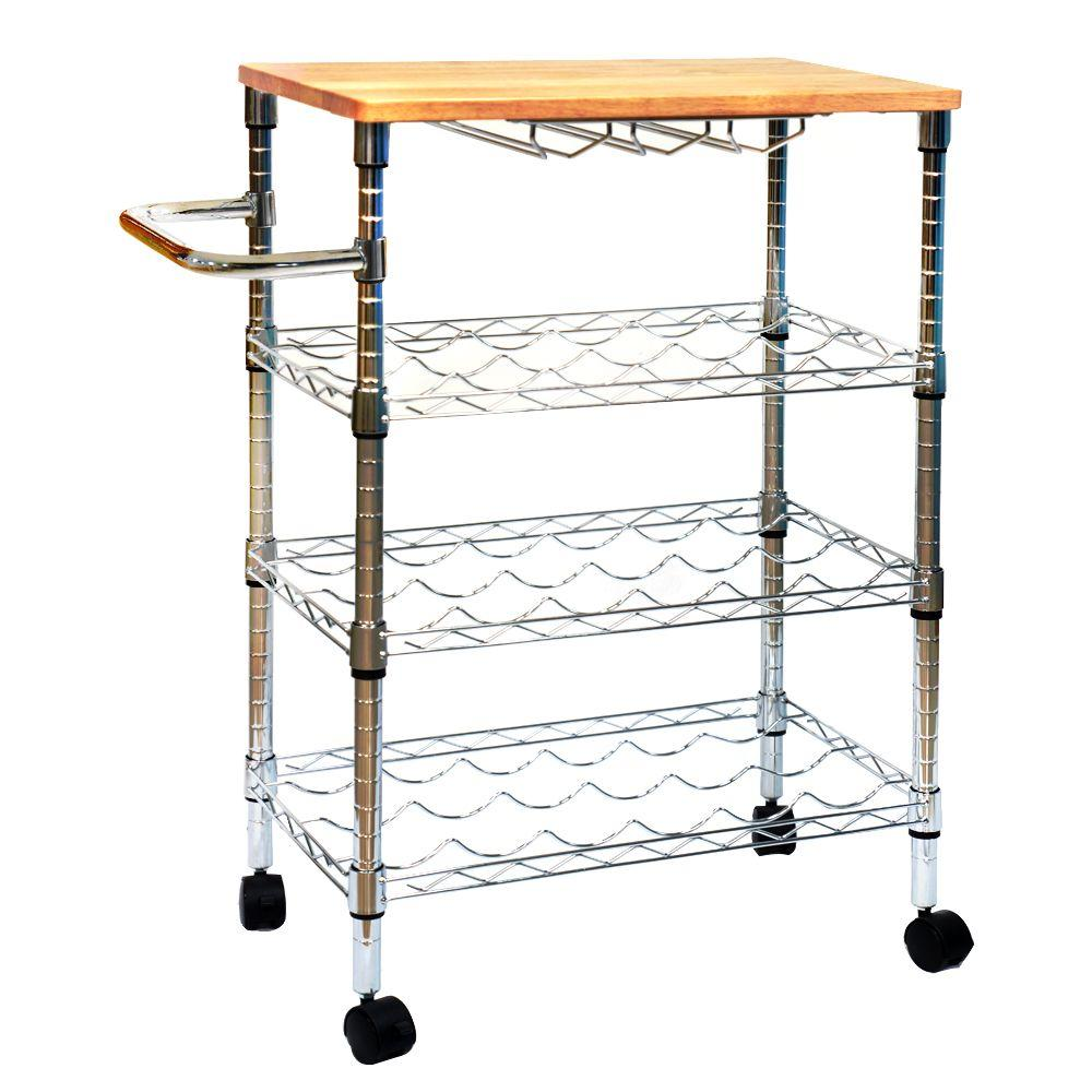 ... 3 Tier Metal Wine Cart With Rub Wood Top   Chrome ...