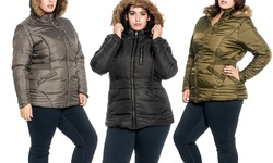 67c853efaacc9 ... Glamsia Women s Plus-Size Sherpa-Lined Puffer Jacket - Olive - Size  ...