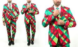 Braveman Men's Christmas Plaid Suit - Multicolor - Size: 36Rx30W