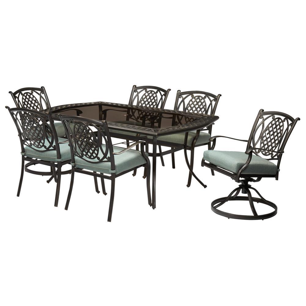 Hampton Bay Belcourt 7 Piece Metal Outdoor Dining Set With Spa Cushions